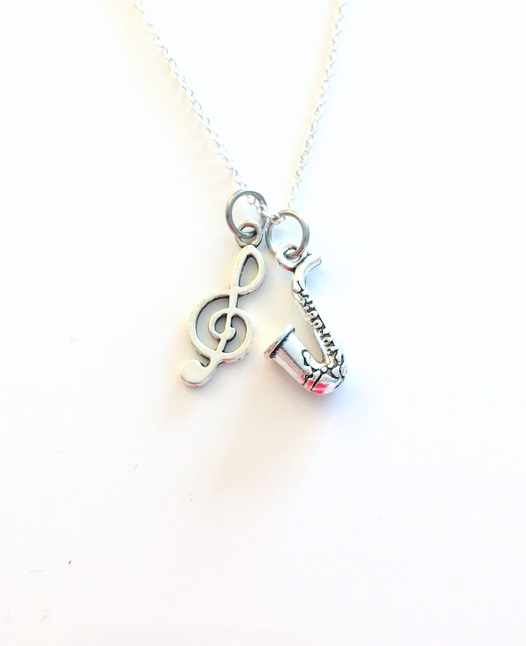 3//4 inch Tall Sterling Silver Saxophone Pendant,