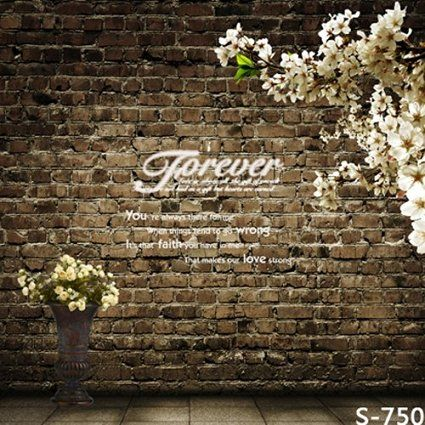 Laeacco 3x5ft Thin Vinyl Photography Backdrop Brick Wall And White Flowers Scene Background For Photography Photography Backdrop Vinyl Backdrops