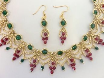FREE beading pattern for Christmas Cascade Earrings Necklace