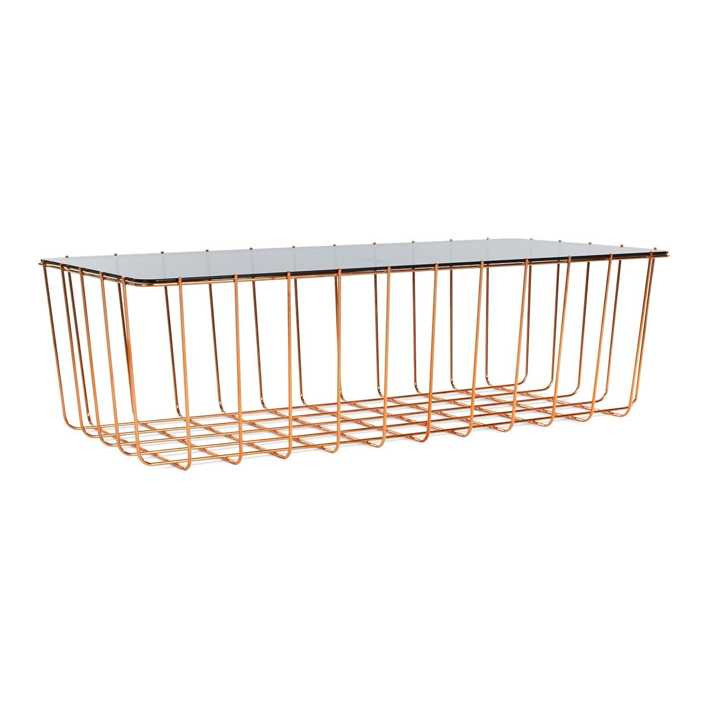 Blu Dot Scamp Wire Coffee Table Copper Smoked Glass Large Table Wire Coffee Table Glass Top Coffee Table [ 1400 x 1400 Pixel ]