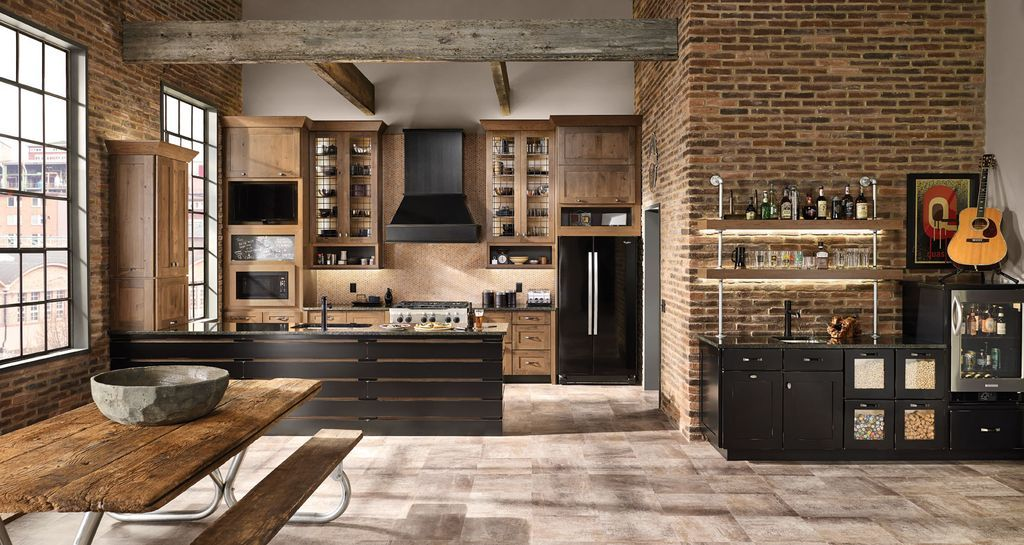 Industrial Kitchen with flush light, Flat panel cabinets ...