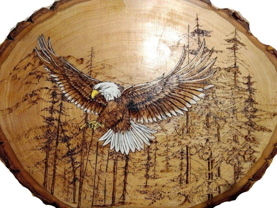 woodburned and painted eagle wood pinterest brandmalerei bastelideen und holz. Black Bedroom Furniture Sets. Home Design Ideas