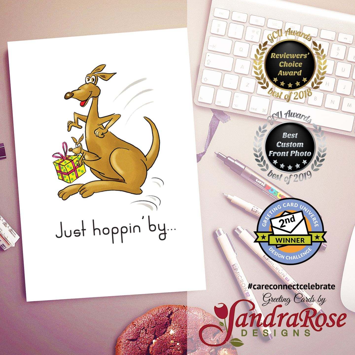 Happy Birthday For Child Kangaroos With Present Card Kids Birthday Cards Birthday Cards Cool Cards