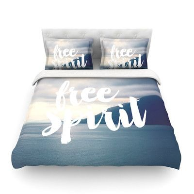 East Urban Home Free Spirit Coastal Typography by Catherine McDonald Featherweight Duvet Cover Size: King