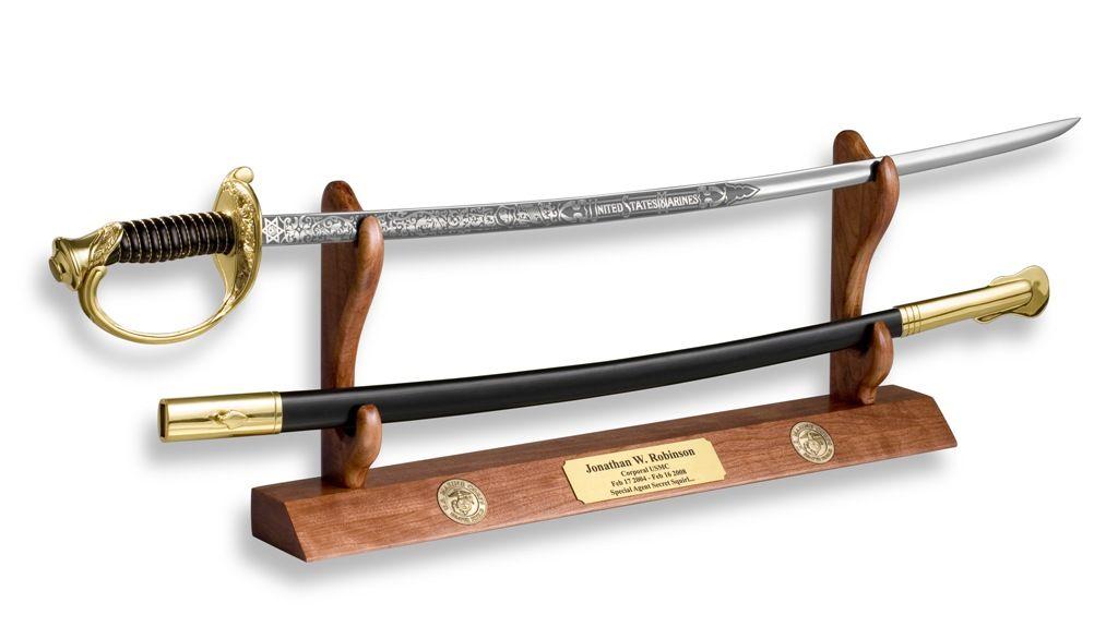 Cherry Sword And Cutlass Display For Desk Shelf Or