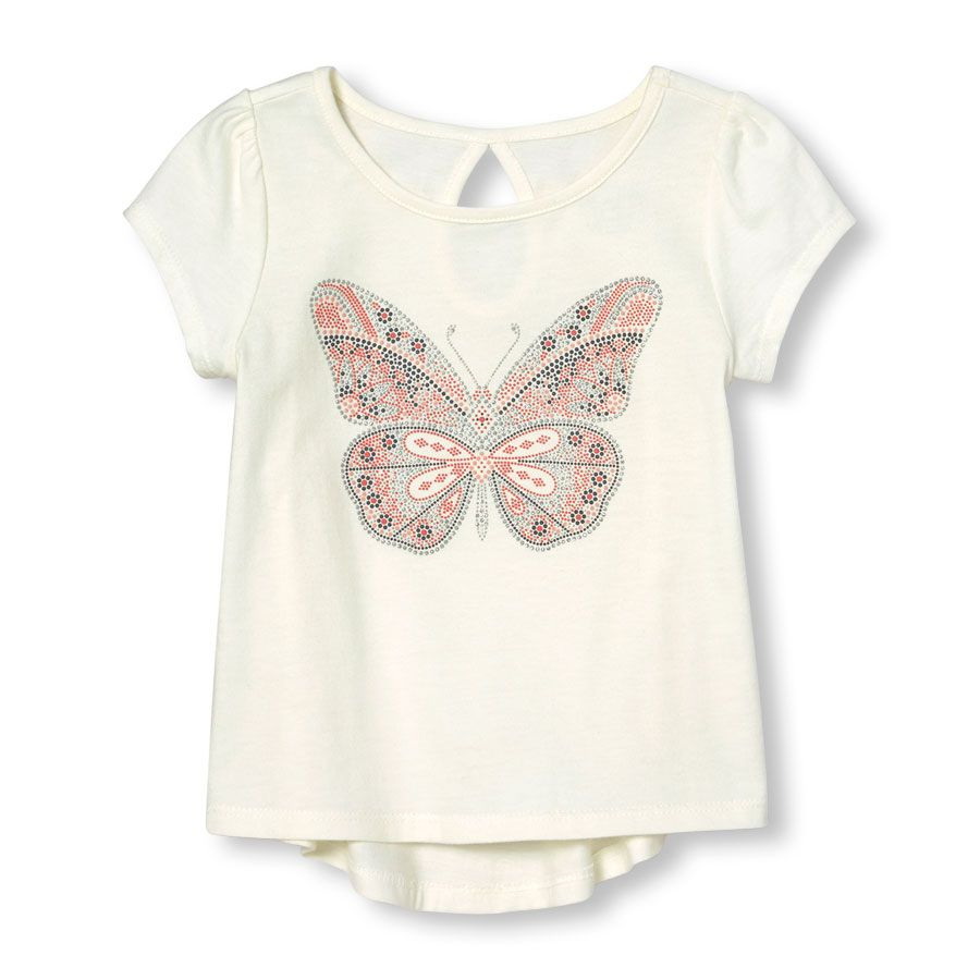 c35d9ce5bdf5 Toddle Girls Short Sleeve Embellished Graphic Keyhole Cutout Top ...