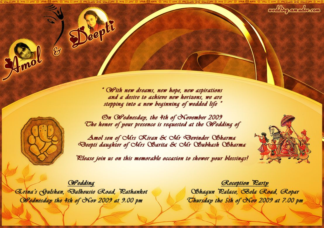 Indian Wedding Invitation Wording For Friends Card: Wedding Card Email Matter. Bengali Wedding Card