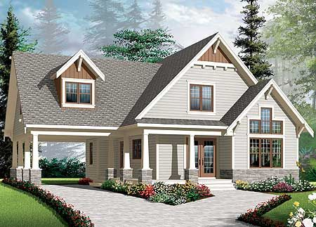 Plan 21992dr Graceful Porch And Carport Craftsman Style House