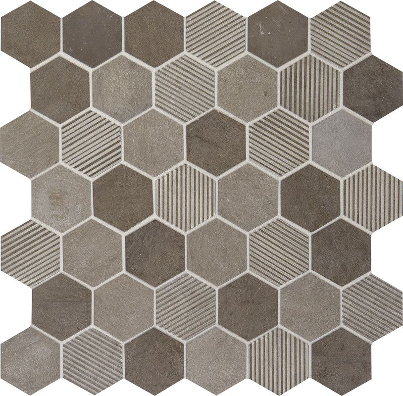 Limestone Collection Moe Gris Blend L346 2 Hexagon Mosaic Natural Stone Tile