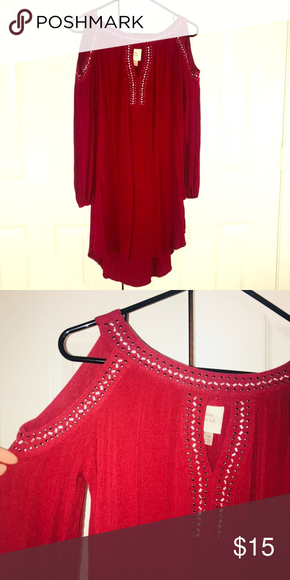 1e4cff69f395fb Cold shoulder dress Maroon cold shoulder dress with embellishments and high- low hem. It s so cute on! Not fitted. You can wear it loose with heels or  with a ...