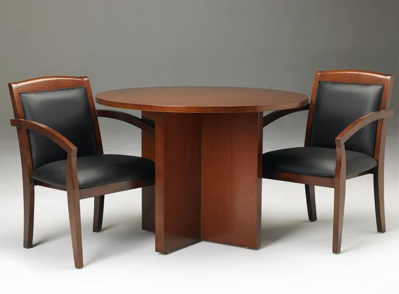 round wooden conference table with chair set | small round office
