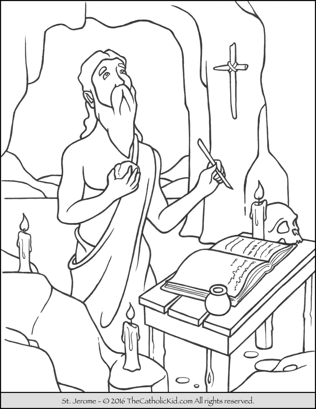 Coloring Page of Saint Jerome beating