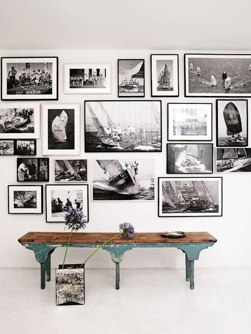 vintage bench   gallery wall