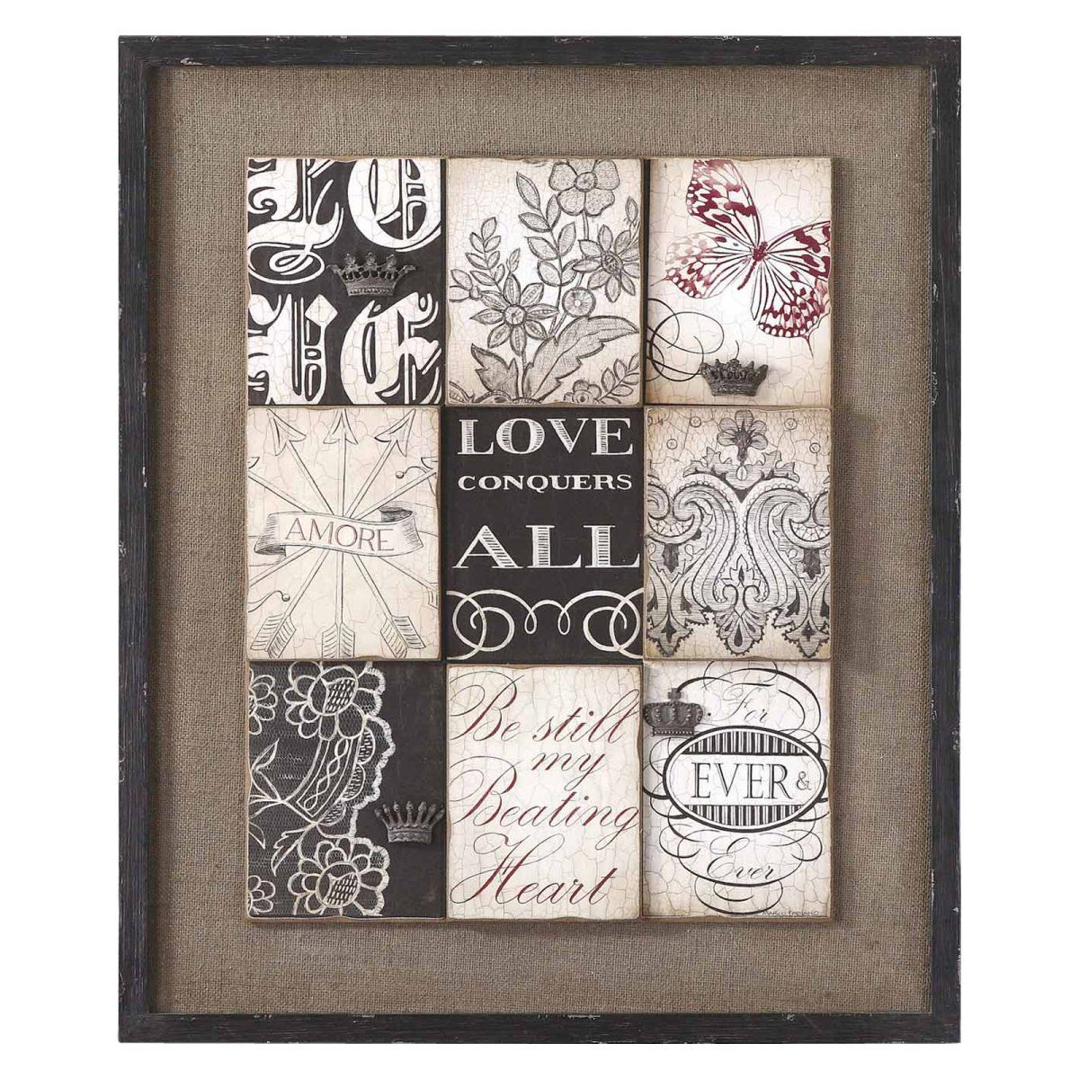 Traditional Uttermost Vintage Love 28 Wide Black And White Wall Art Artwork By Lamps Plus