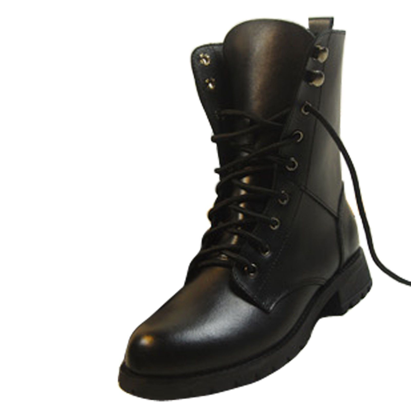 Women Fashion Lace-Up Ankle Military Boots Army Combat Black Punk Shoes Chunky