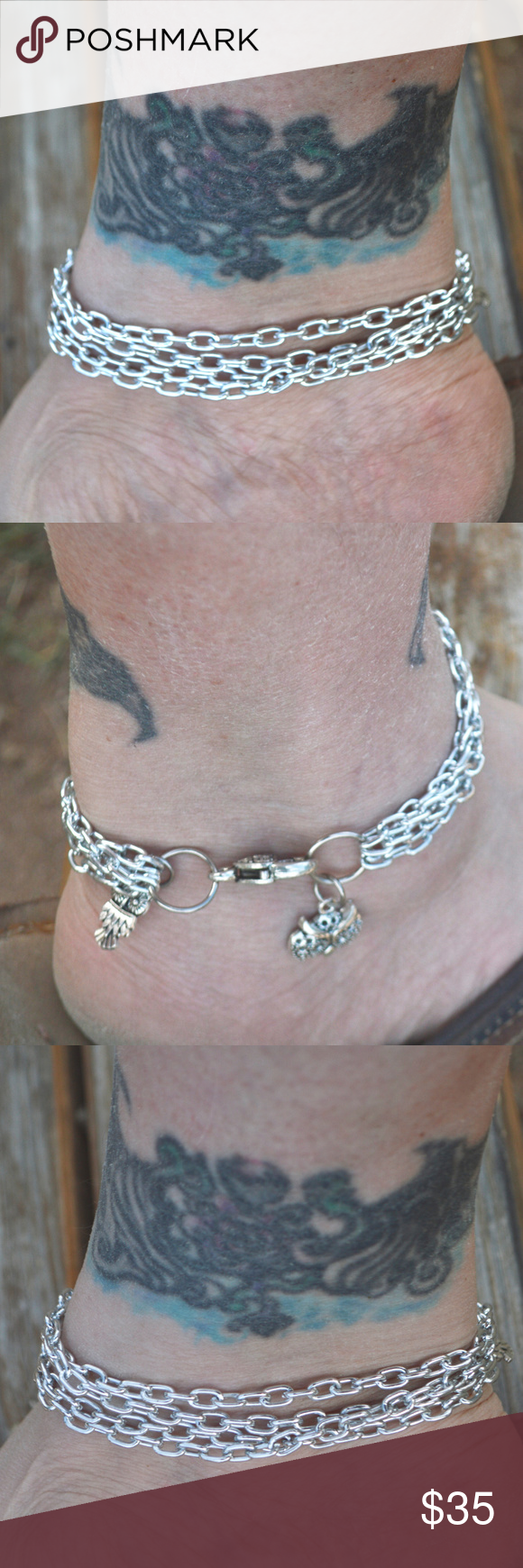 Bracelet Silver Chain Strands Anklet Charm Thank you for looking at this original design, handmade ankle bracelet. Its silver aluminum, lightweight, you will barely feel it  10.5 inches long  ,  you can request it smaller or bigger, please just ask as we make this to order 2 owl charms,  big heart clasp boho, steampunk, rocker, bike...