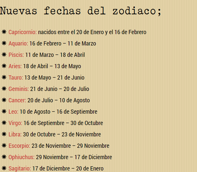 Nuevas Fechas Signos Del Zodiaco Segun La Nasa 2016 Signos