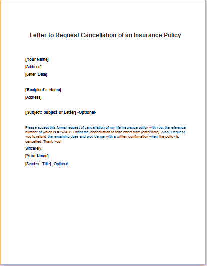 Insurance Policy Cancellation Request Letter Writeletter Samples