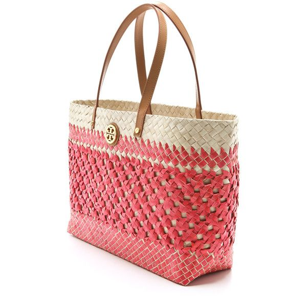 be5202735e2 Tory Burch Small Straw Square Tote ( 123) ❤ liked on Polyvore featuring bags
