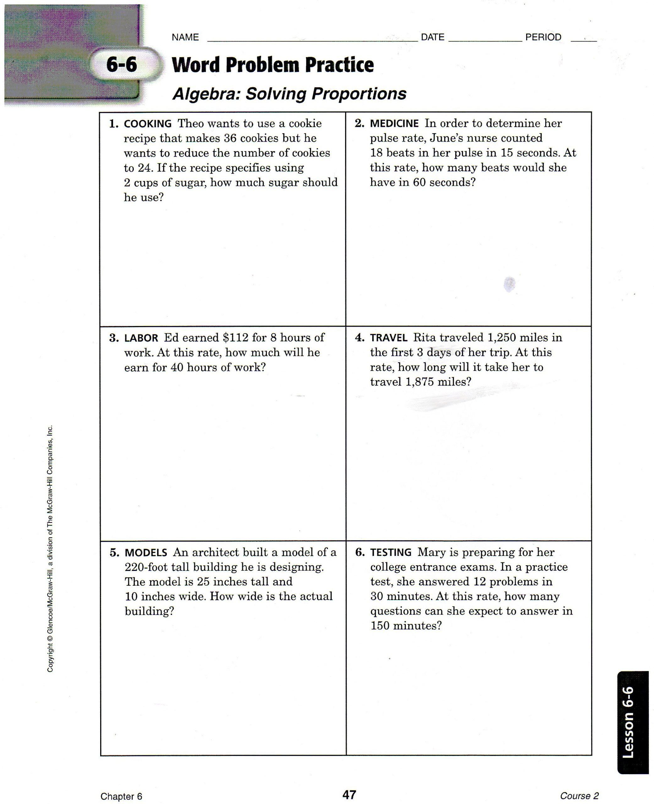 6th Grade Ratios Worksheet Solving Proportion Word