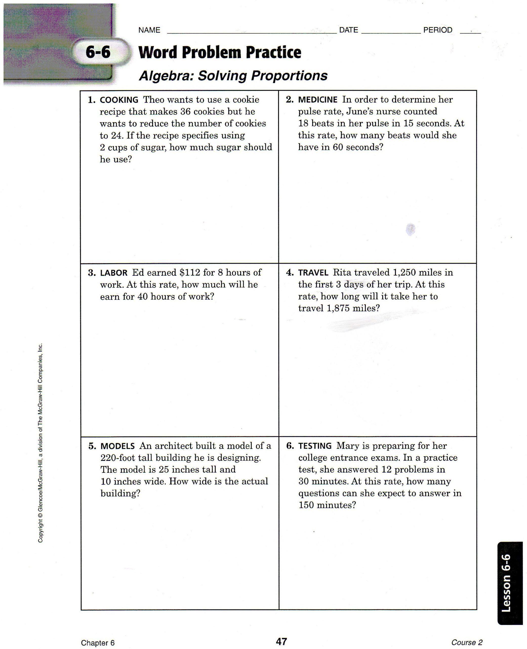 6th Grade Ratios Worksheet Solving Proportion Word