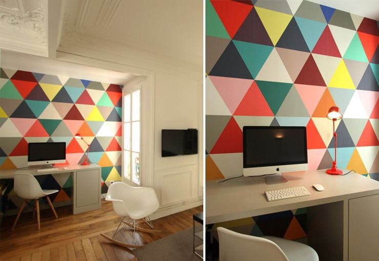 papier peint triangles multicolores design minakani papier peint peinture pinterest. Black Bedroom Furniture Sets. Home Design Ideas