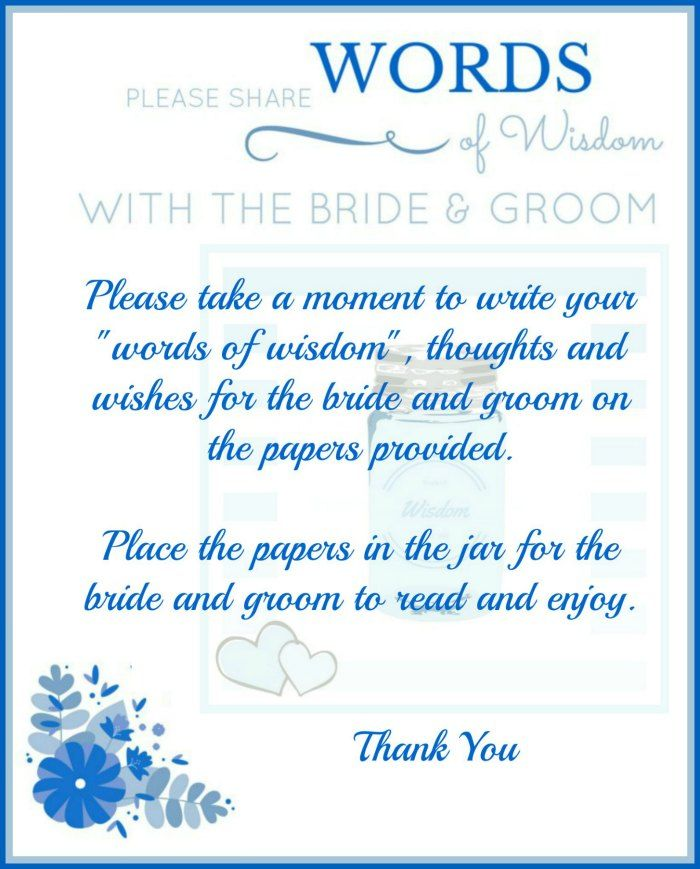 Bridal Shower Words Of Wisdom Template