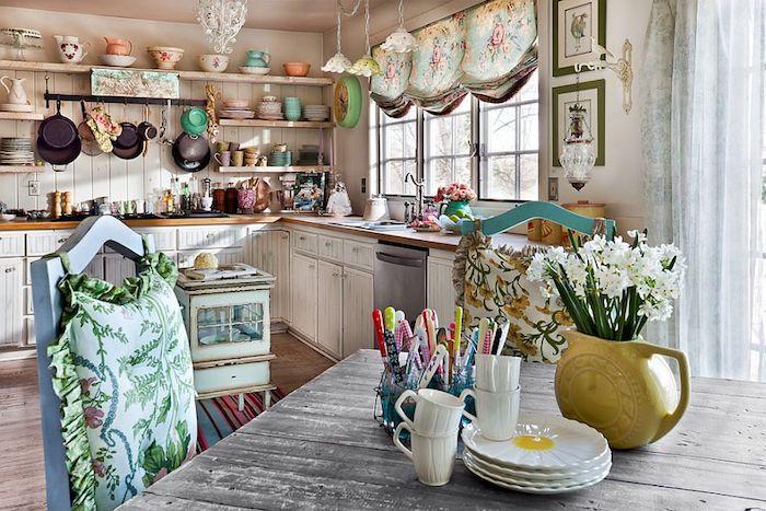 kommode shabby, küche im retro stil einrichten, weiße schränke ...