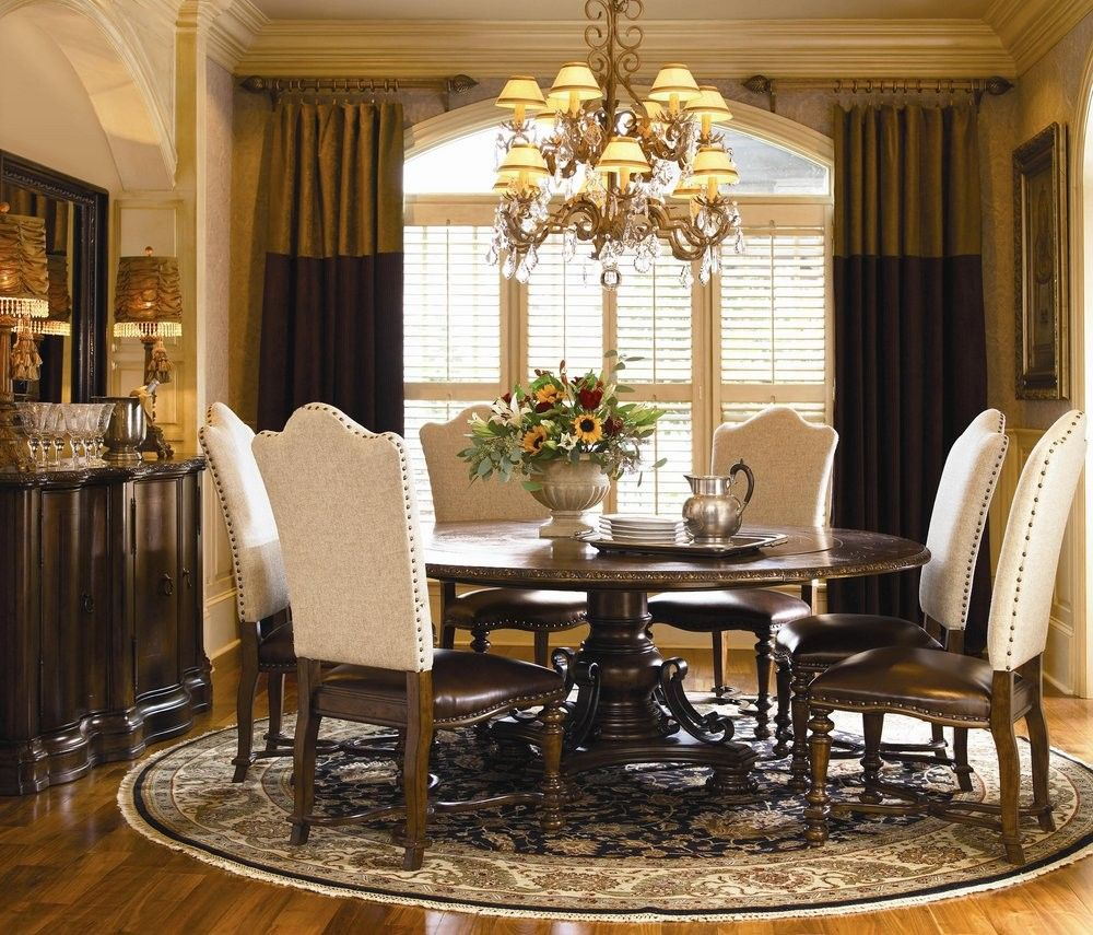 Classic Dining Room Furniture Sets With Round Dining Table 6 Chairs Leather Cushions Round Carpet Laminate Wood Floor Large Curtain Brown Cupboard Round Dining Room Round Pedestal Dining Table Modern Dining Room