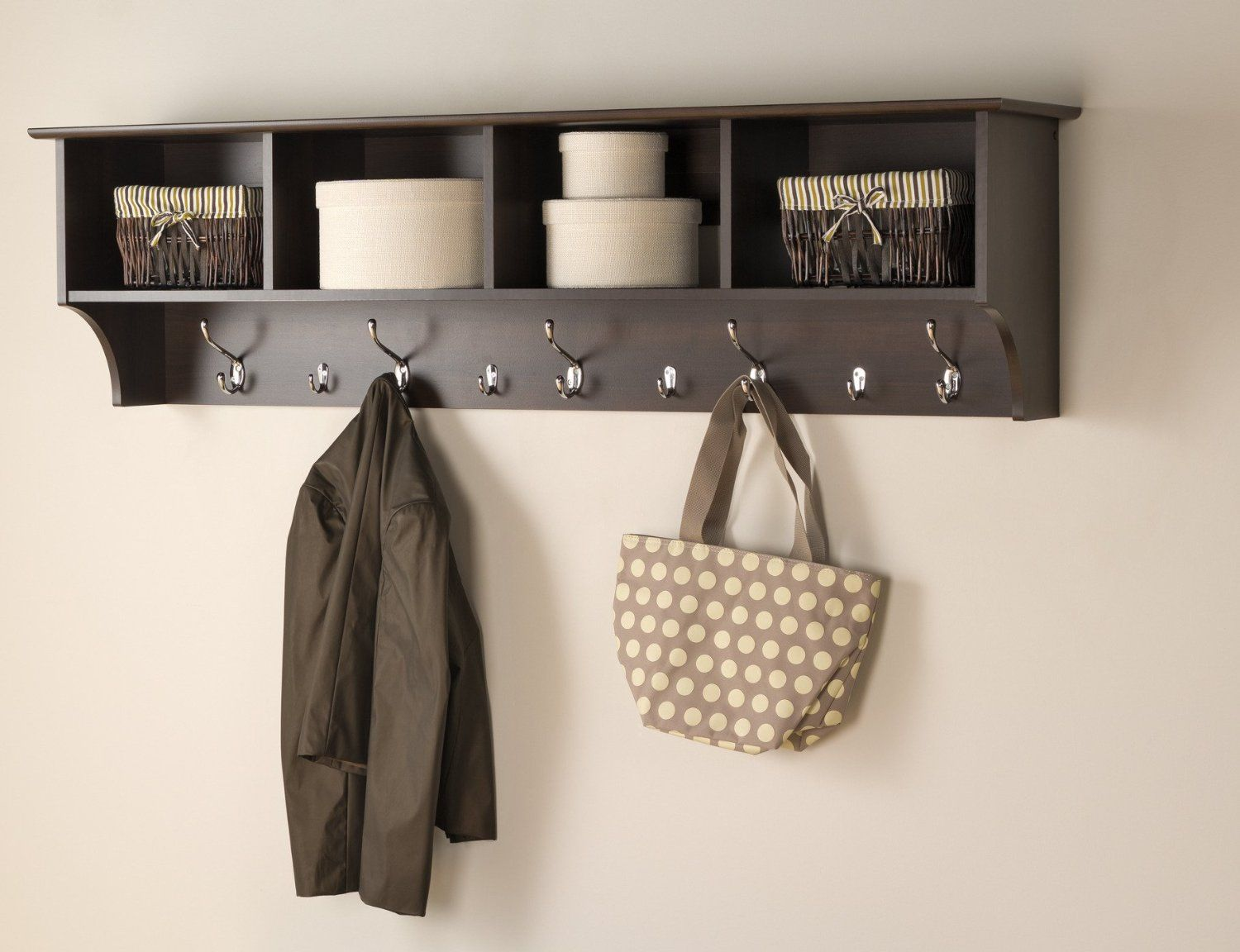 Merveilleux Hang Your Coats, Jackets, Bags And Other Entryway Belongings In A Single,  Convenient Area With This Everett Espresso Wide Hanging Entryway Shelf.