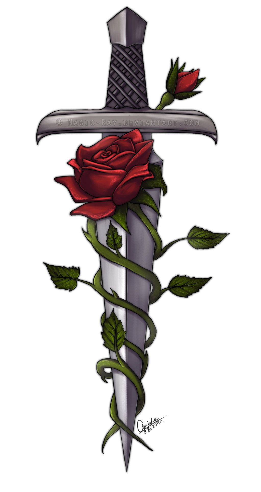 sword and roses by magic ray deviantart com on deviantart tattoos