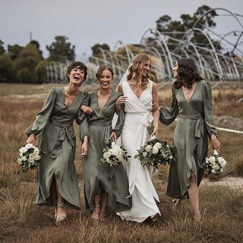 Casual V Neck Bridesmaid Dresses for Wedding Party