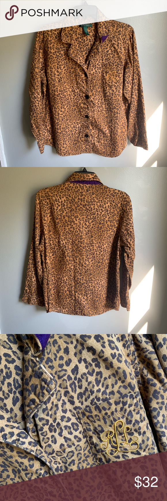 Ralph Lauren Embroider Logo Leopard Blouse XL 100% soft cotton flannel blouse with embroidered RLL on chest pocket. Big oversized buttons. Wear this to the office or with your best ripped skinny jeans and ankle boots for an on trend outfit. Lauren Ralph Lauren Tops Blouses #skinnyjeansandankleboots