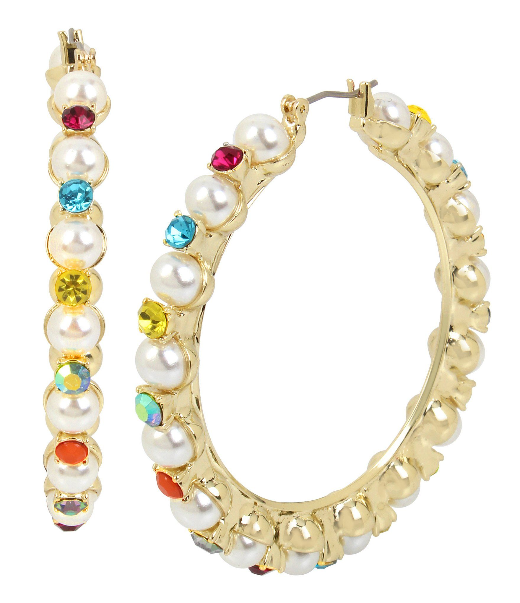 5326d642e59d2 Betsey Johnson Pearl and Colorful Stone Hoop Earrings #Dillards ...