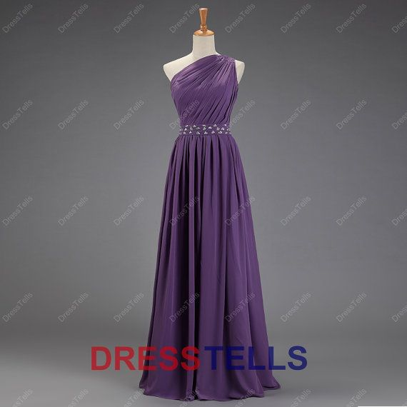 Purple Bridesmaid Dress/One-shoulder Bridesmaid Dress/Long Prom Dress/Purple Prom Dress/Purple Evening Dress/Chiffon Wedding Party Dress/ via Etsy