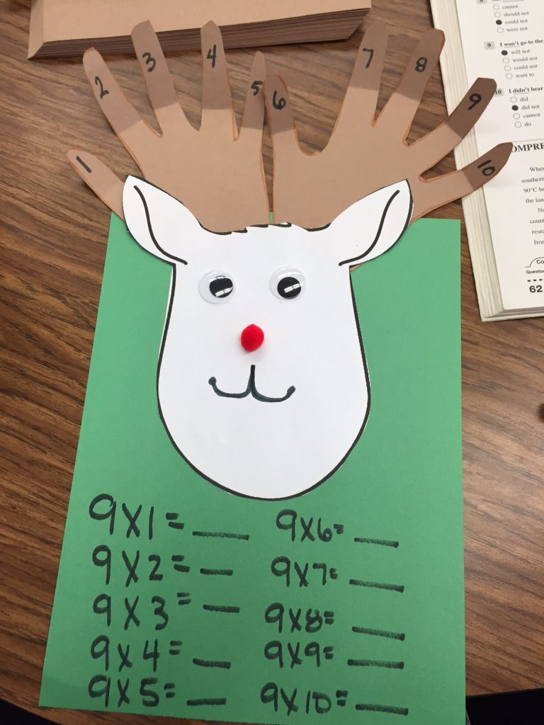 Teaching my third grades the nine trick for multiplication! Let them trace their hands and make them into a reindeer! So fun!