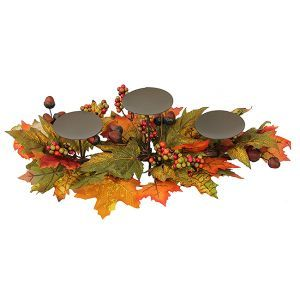 acorn decor items | ... Blessings Leaf Berry and Acorn Thanksgiving Pillar Candle Holder