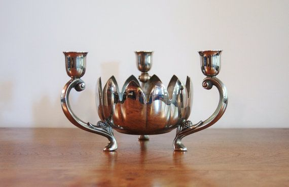 Silver Lotus Candle Holder Leonard Silver Plate Lotus Flower Table Candelabra Shabby Chic Wedding Floral Centerpiece 3 Arm Candleholder & Silver Lotus Candle Holder Leonard Silver Plate Lotus Flower Table ...