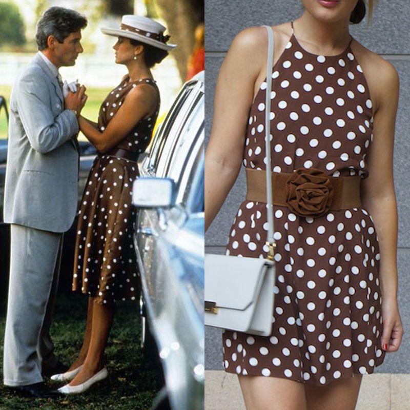 EBAY ZARA Pretty Woman Polka Dot Vestido lunares marrón