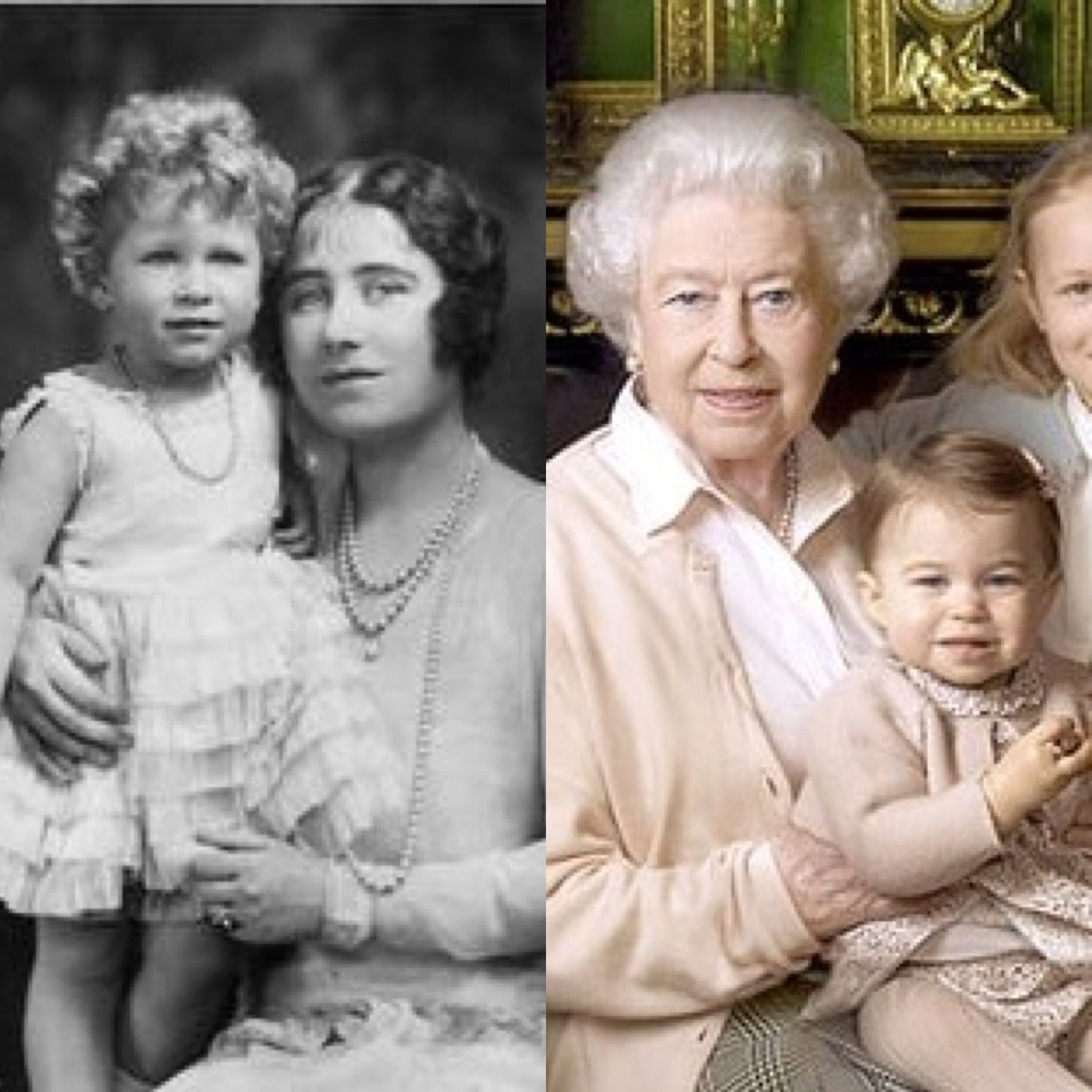 Queen Elizabeth Ll With Mum And Qell Princess Charlotte Look Alike As Children