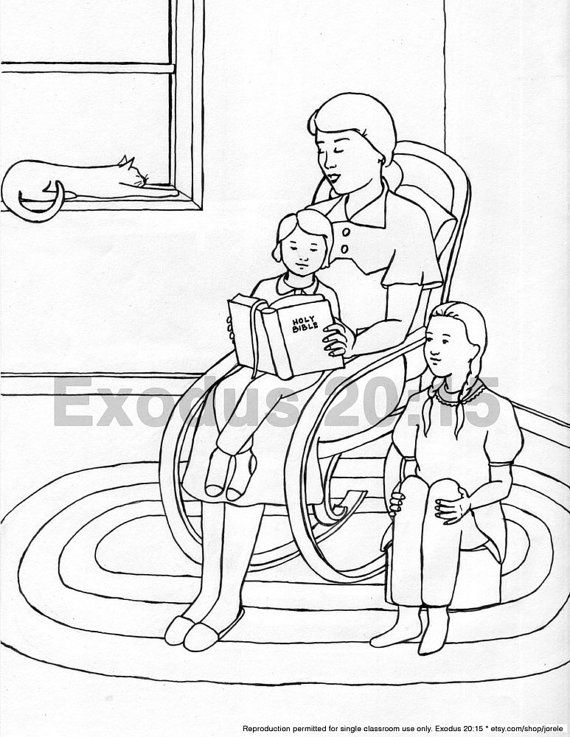 Mother Reading Bible To Children Colouring Page By Jorele On Etsy 100