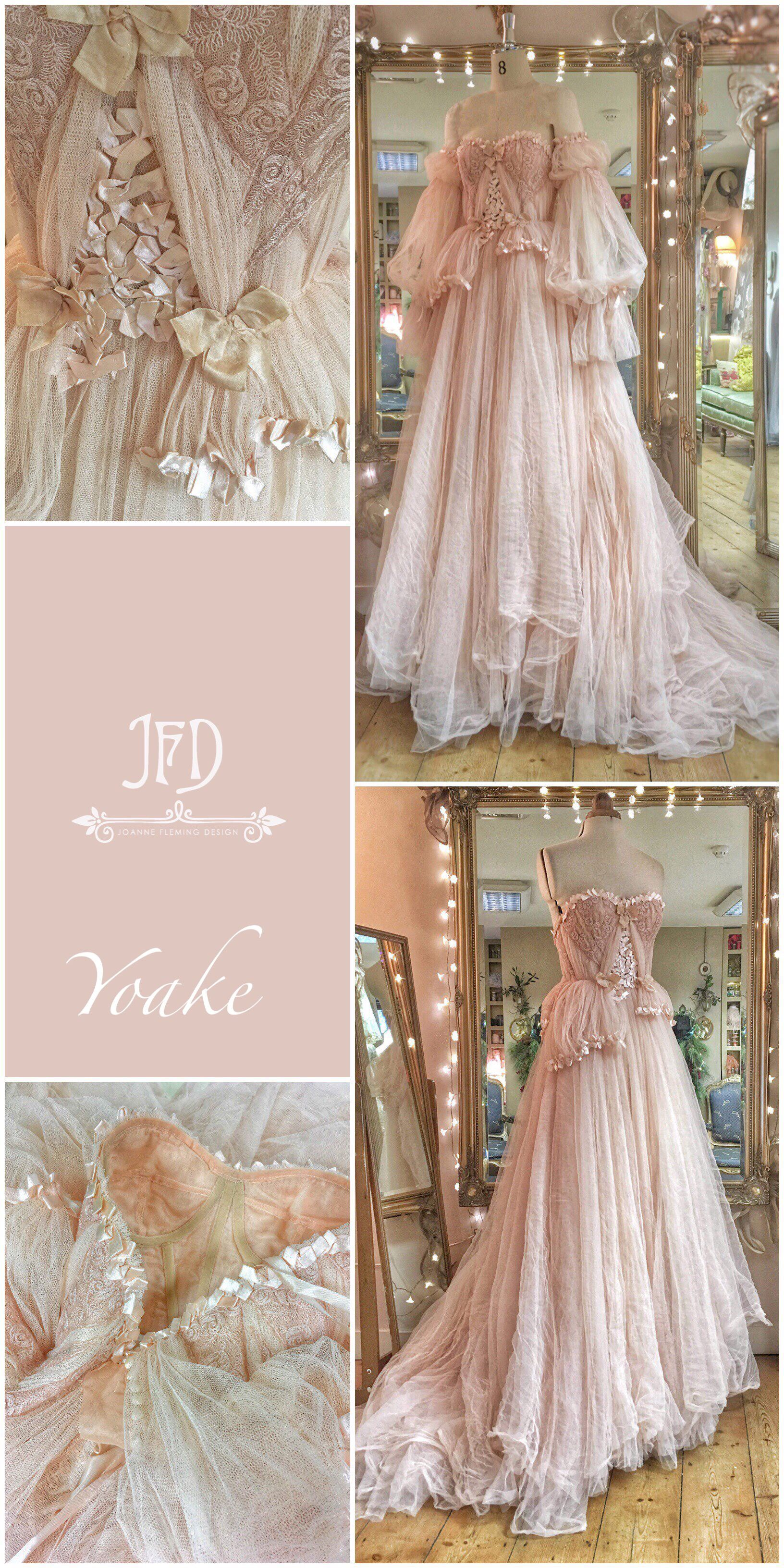 d8a68d31b4f Yoake blush tulle and lace wedding dress with ribbon details by Joanne  Fleming Design