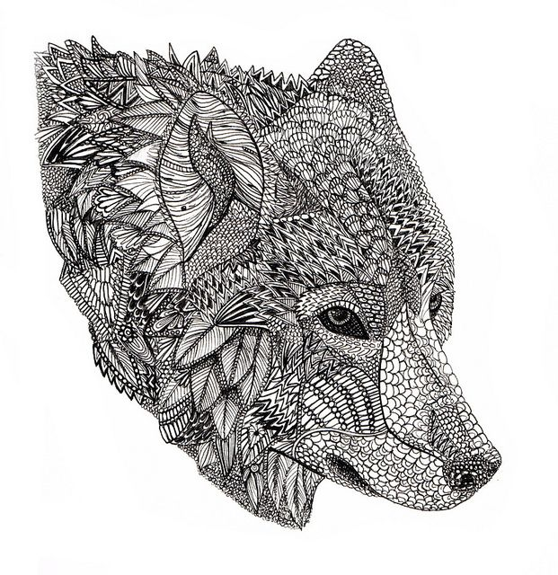 Wolf Wolf Art Print Zentangle Animals Wolf Colors