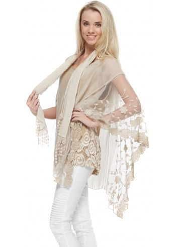 74eeef8770f26 Made In Italy Beige Silk Lace Side Floaty Top With Scarf