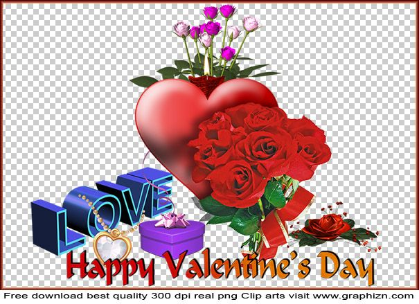 Happy Valentines Day Png Clip art with Big Red Heart Diamond Necklace Gift Box and Red Roses