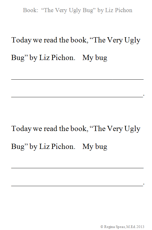 the very ugly bug fill in the blank printable for preschoolers