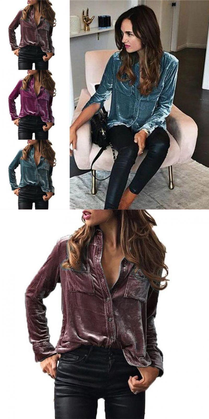 e80d3c4ac145b0 Elegant womens solid velvet turn-dowm collar blouses long sleeve tops  sumptuous high quality velvet