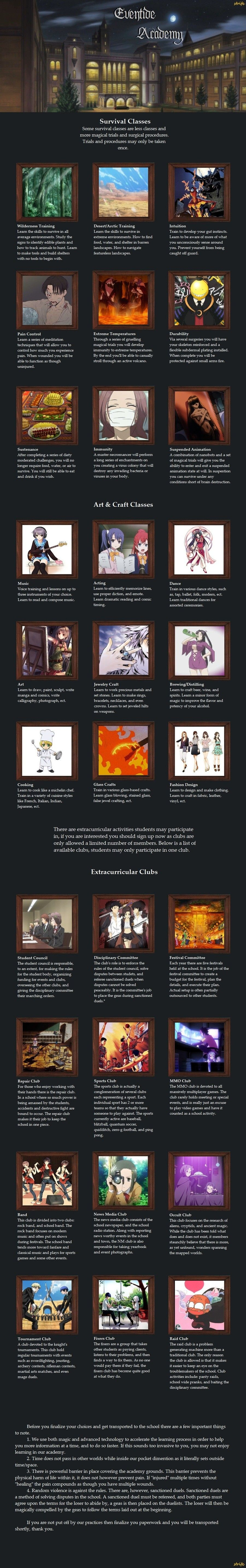 Eventide Academy cyoa | ideas to go with alternate universe