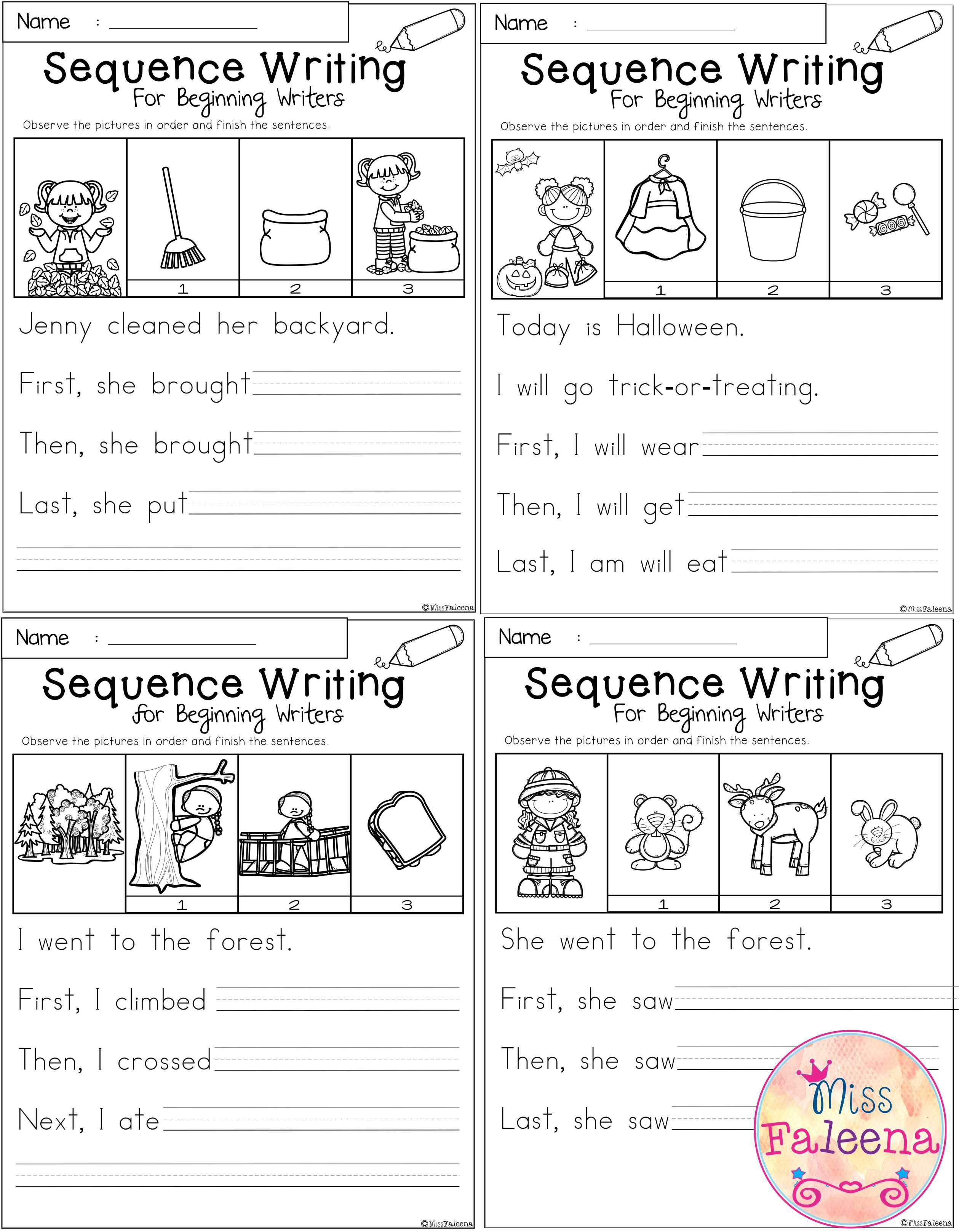 October Sequence Writing Contains 30 Pages Of Narrative Prompts Worksheets Students Will Obser Sequence Writing Kindergarten Writing Prompts Teaching Writing