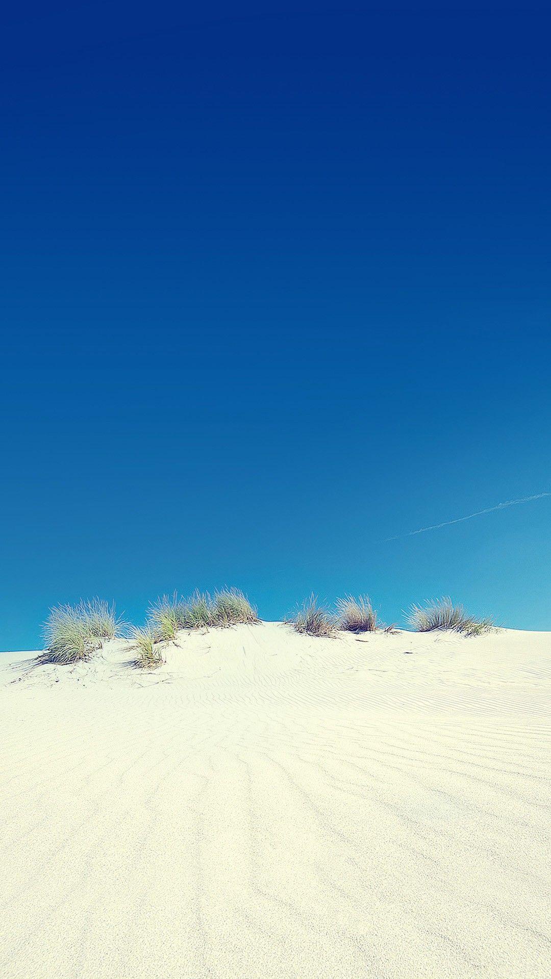 White Beach Sand Blue Sky Lockscreen Smartphone Wallpaper
